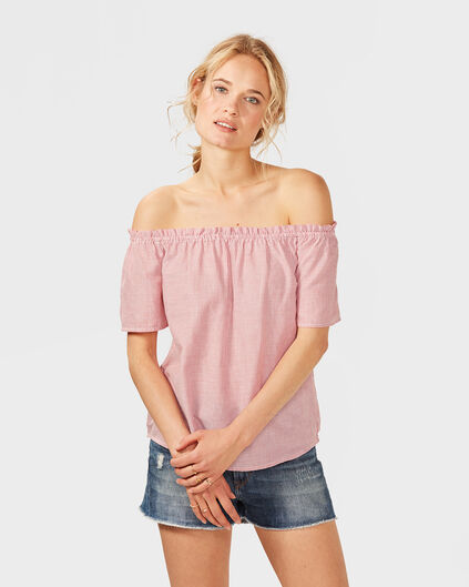 DAMES STRIPED OFF SHOULDER TOP Rood