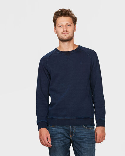 HEREN INDIGO DYED SWEATER Blauw