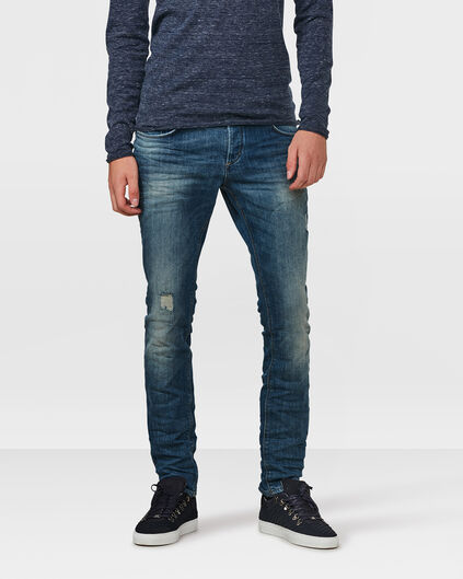 HEREN SLIM TAPERED COMFORT STRETCH DAMAGED JEANS Blauw