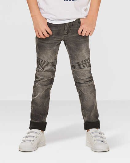 JONGENS SKINNY POWER STRETCH GREY BIKER JEANS Grijs