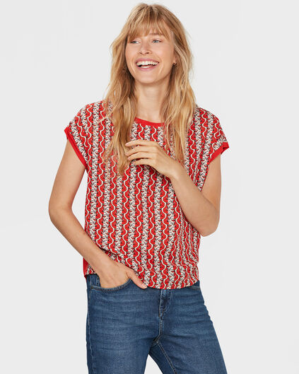 DAMES FOX PRINT TOP Rood