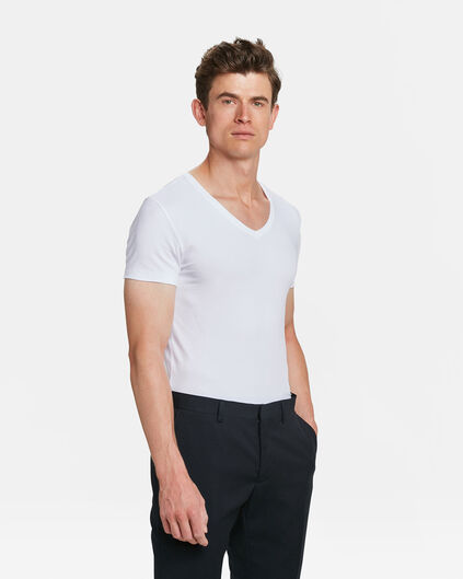 HEREN INVISIBLE V-NECK T-SHIRT, 2-PACK Wit