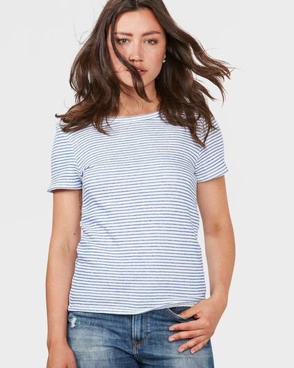 DAMES SWEAT STRIPE BOWTIE TOP Blauw