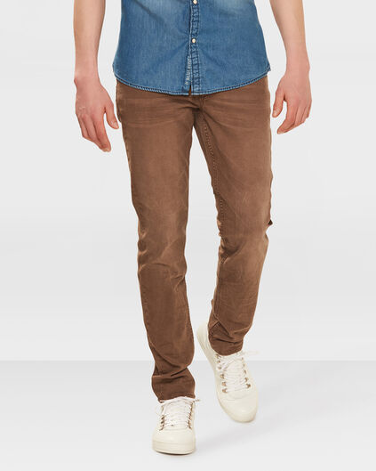 HEREN SKINNY TAPERED STRETCH BROEK Lichtbruin