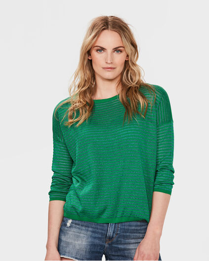 DAMES LUREX STRIPE TOP Groen