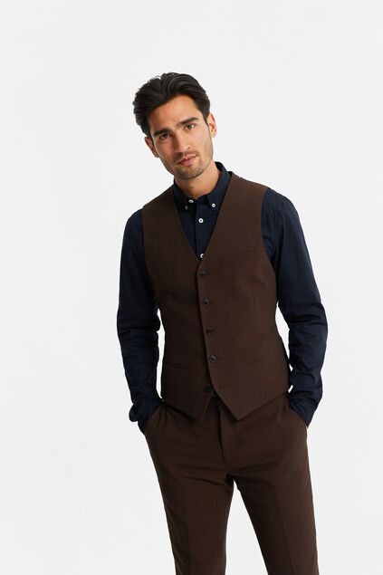 Heren slim fit gilet, Dali Donkerbruin
