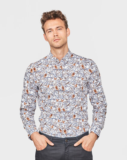 HEREN SLIM FIT FOREST PRINT OVERHEMD Gebroken wit