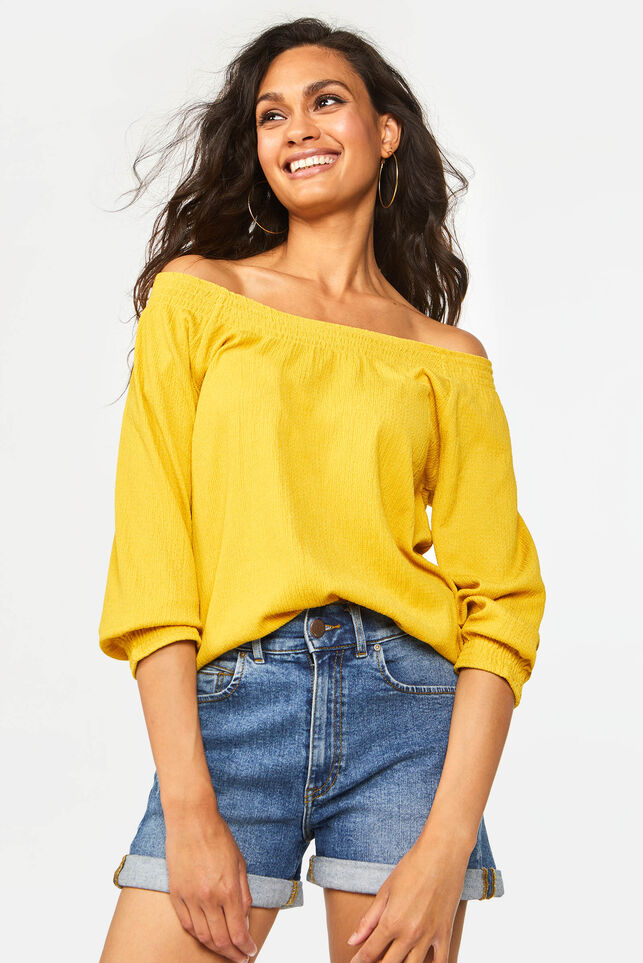 Dames off-shoulder top Mosterdgeel