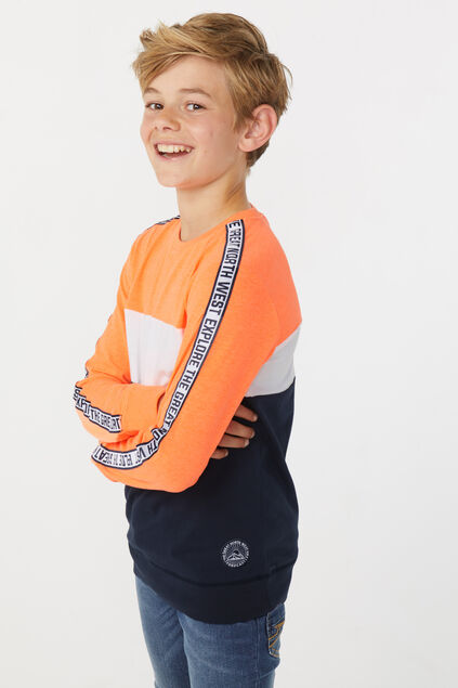 Jongens colourblock T-shirt Feloranje