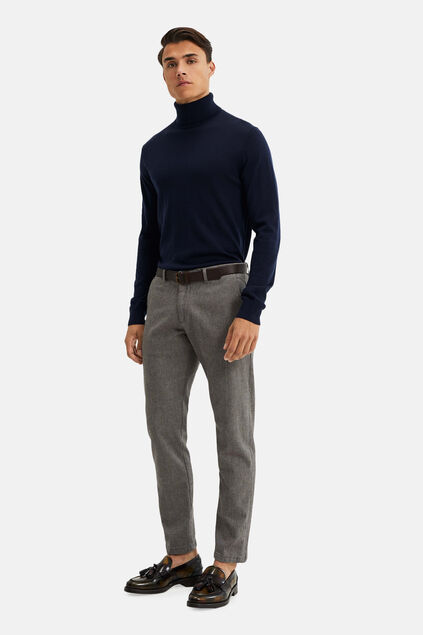 Heren gemêleerde slim fit chino Bruin
