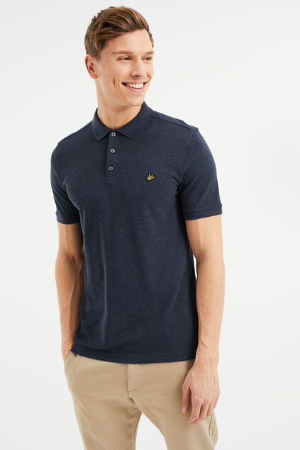 Heren slim fit polo Donkergrijs