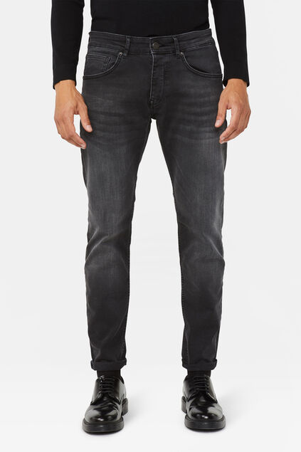 Heren slim tapered super stretch jeans Zwart