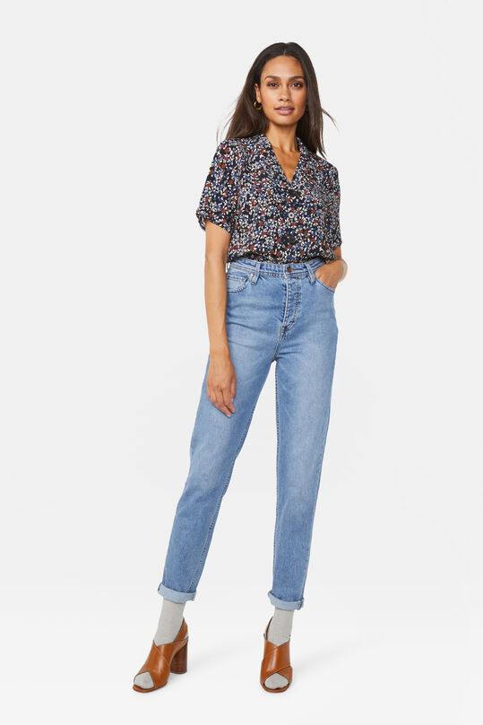 Dames super high rise tapered jeans Blauw