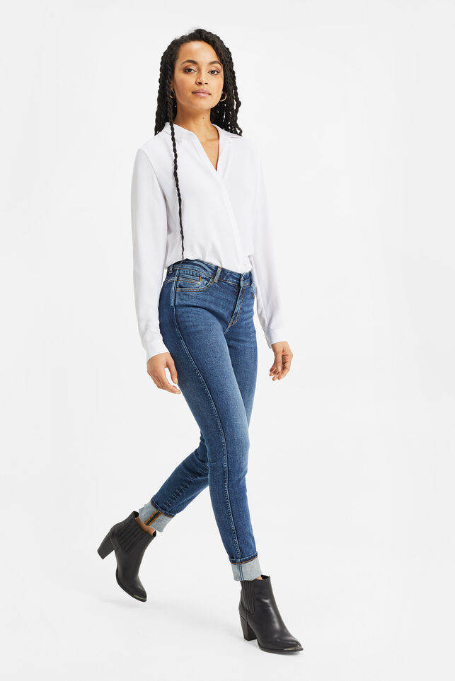 Dames mid rise skinny jeans met comfort stretch Blauw