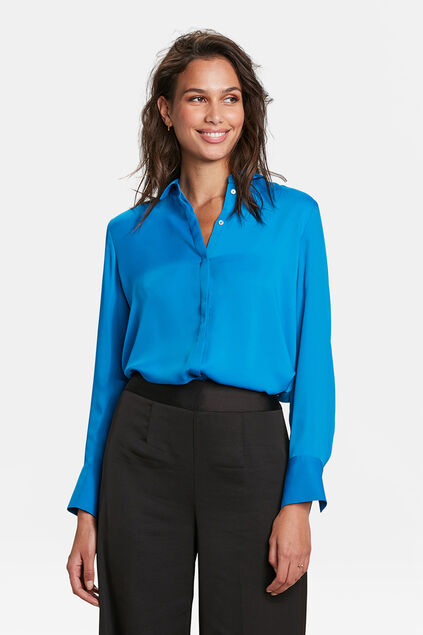 DAMES SATIN BLOUSE Blauw