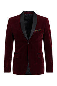 Heren slim fit blazer van velvet_Heren slim fit blazer van velvet, Donkerrood