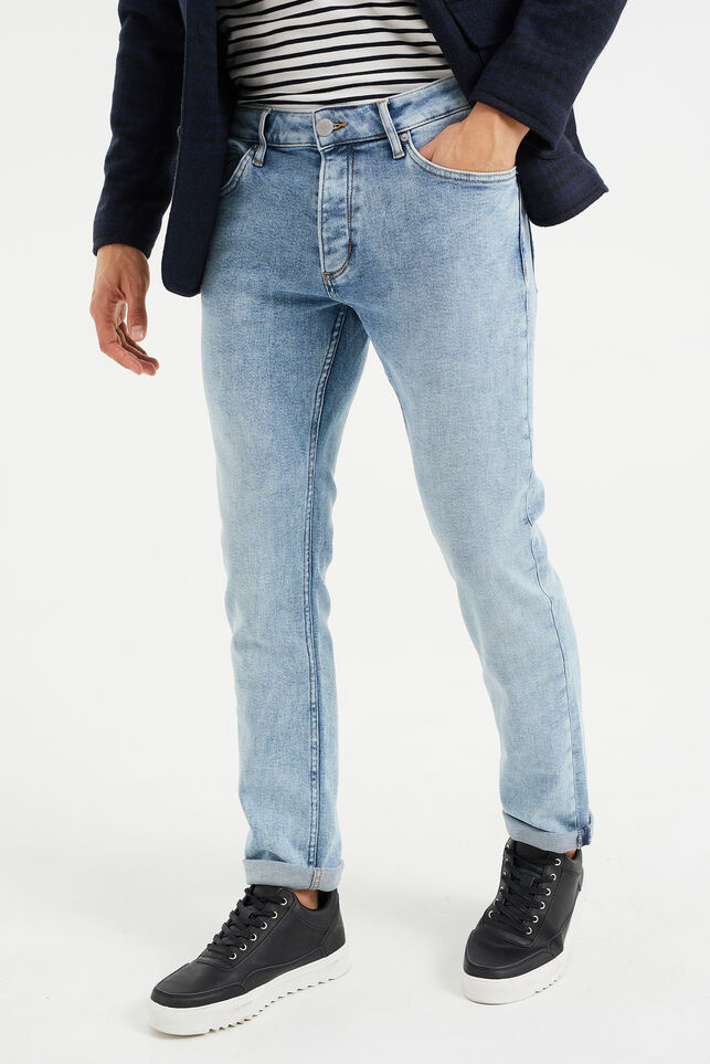 Heren slim fit jeans met comfort stretch Lichtblauw