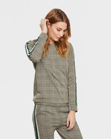 DAMES CHECKED SWEATER Zwart