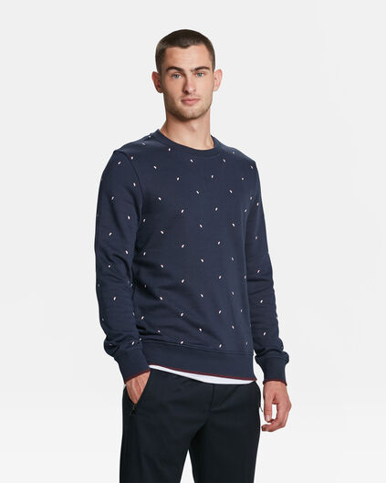 HEREN GRAFISCHE PRINT SWEATER Marineblauw