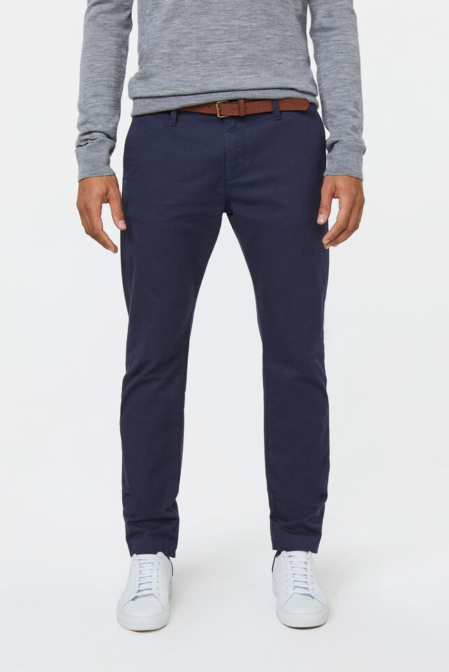 Heren skinny fit effen chino Marineblauw