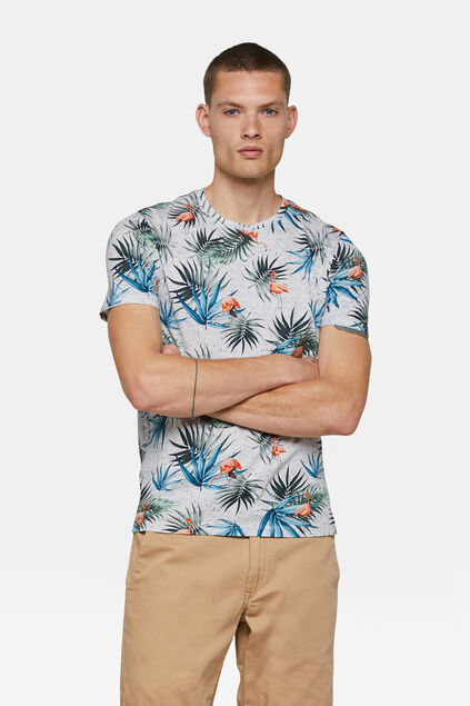Heren flamingodessin T-shirt Gebroken wit