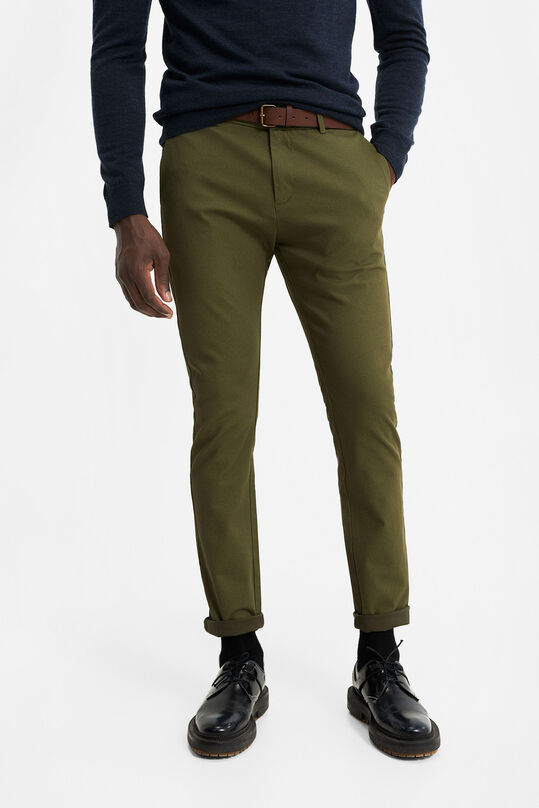 Heren skinny fit chino met dessin Legergroen