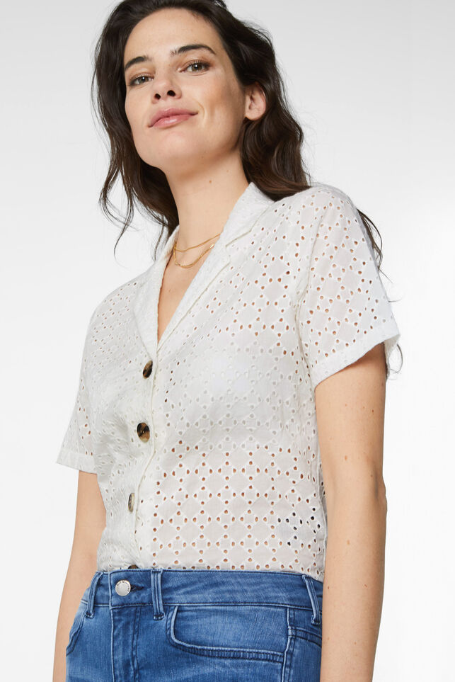 Dames blouse met broderie anglaise Wit