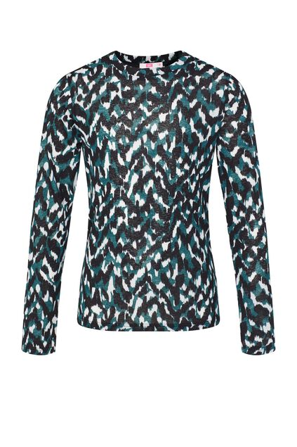 Meisjes semi-transparante top met dessin All-over print