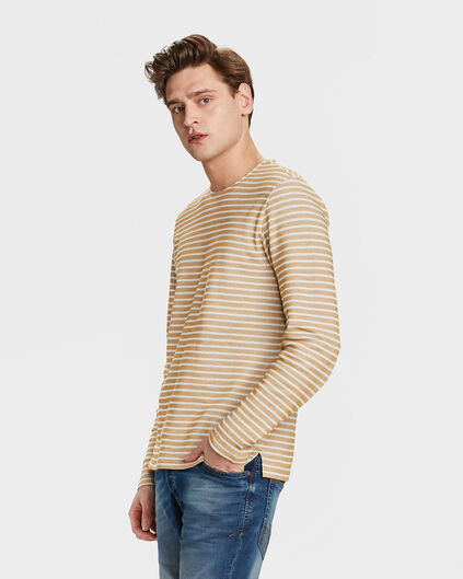 HEREN GESTREEPTE SWEATER Goud