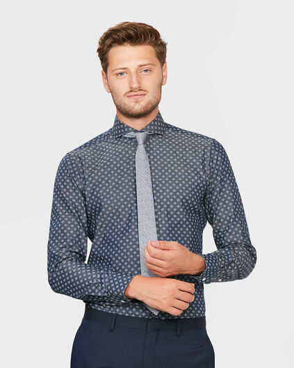 HEREN SLIM FIT GRAPHIC PRINT FINEST COTTON OVERHEMD Blauw