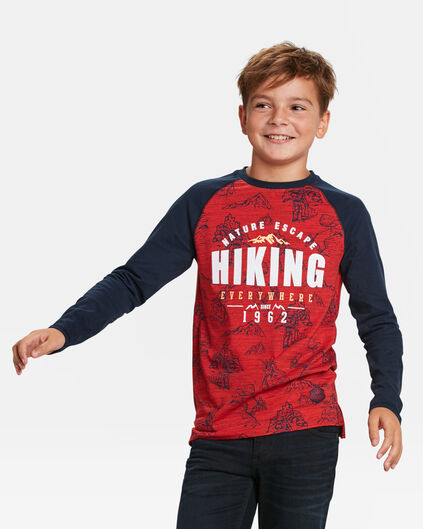 JONGENS HIKING PRINT T-SHIRT Felrood