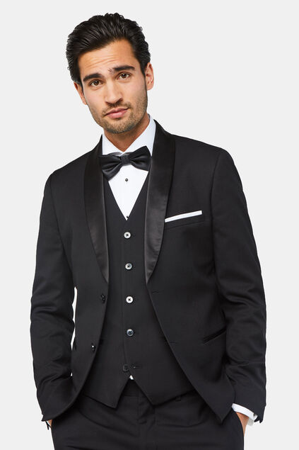 Heren slim fit smokingblazer, Dali Zwart