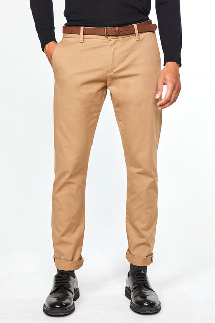 Heren effen slim tapered chino Beige