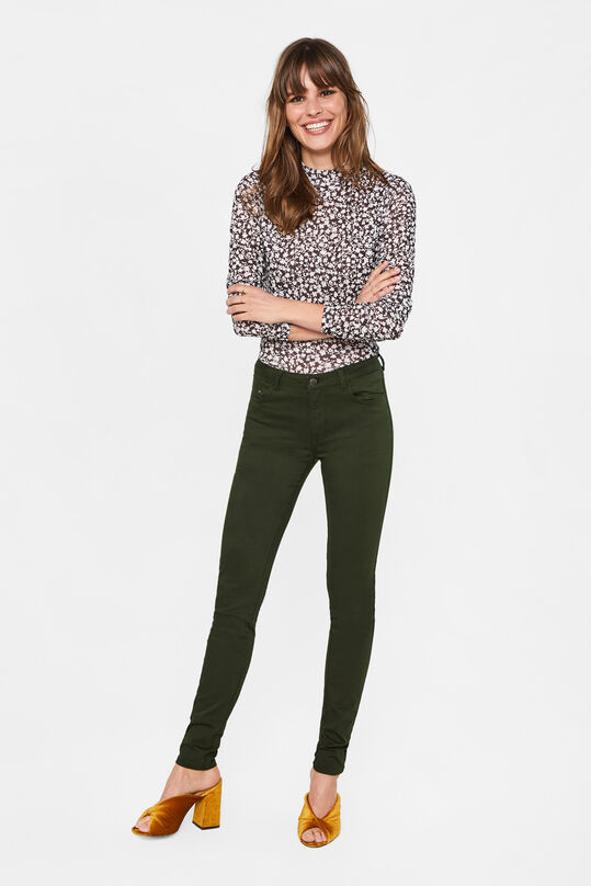 Dames mid rise skinny jeans met stretch Donkergroen