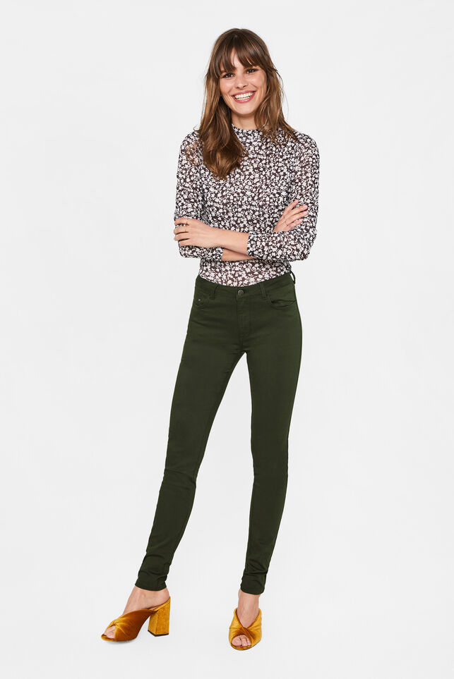 Dames mid rise skinny high stretch jeans Donkergroen