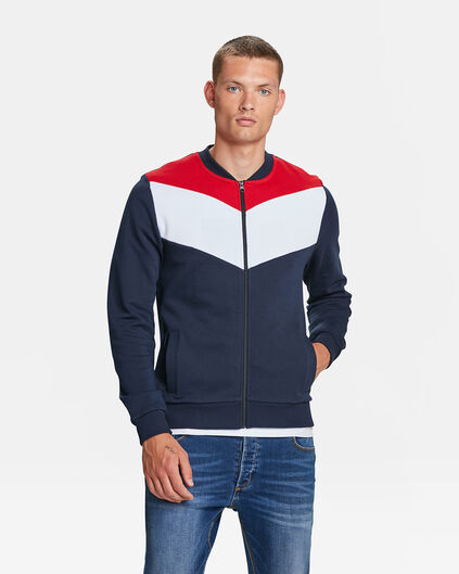 HEREN COLOURBLOCK BOMBER SWEATVEST Marineblauw