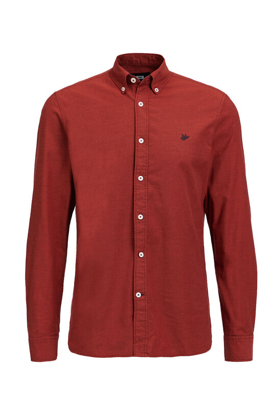 Heren slim fit stretch oxford overhemd Rood