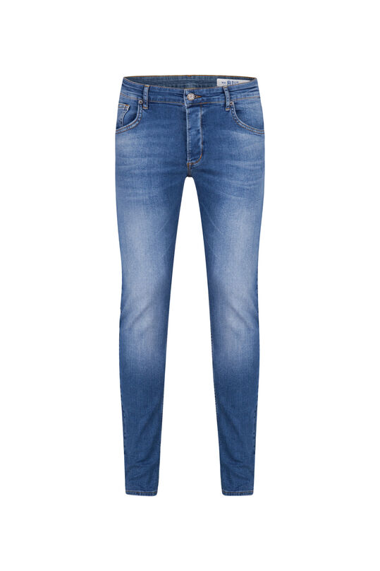 Heren skinny fit jeans met comfort stretch Blauw