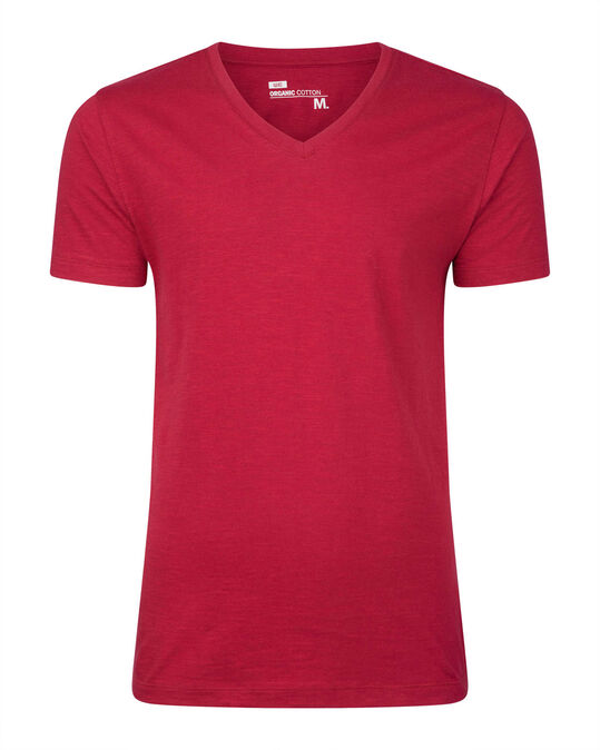 HEREN ORGANIC COTTON V-NECK T-SHIRT Rood