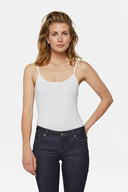 Dames organic cotton singlet Wit