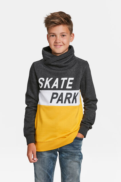 JONGENS SKATEPRINT COLOURBLOCK SWEATER Donkergrijs gemeleerd