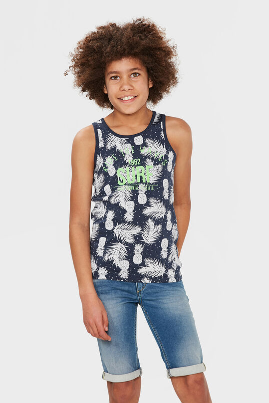 JONGENS RIDE THE WAVES PRINT SINGLET Donkerblauw