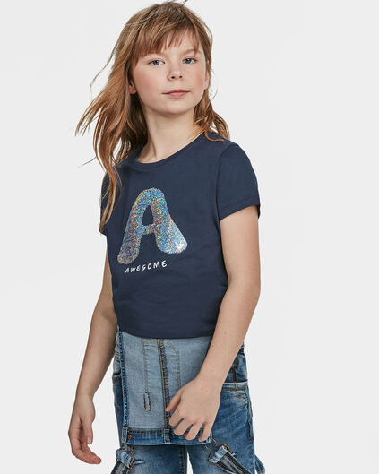 MEISJES AWESOME FLIP SEQUINS T-SHIRT Donkerblauw
