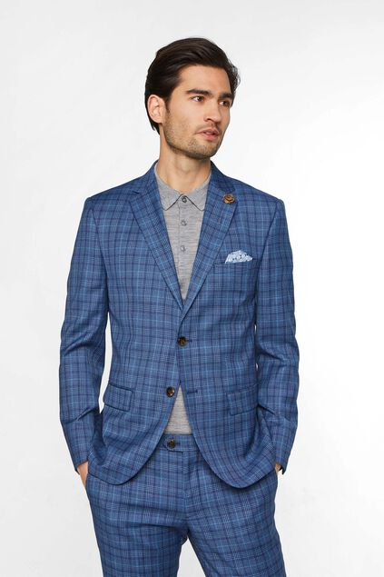 Heren slim fit geruite blazer, Kelso All-over print