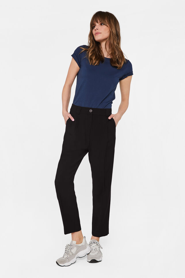 Dames pantalon met high waist Zwart
