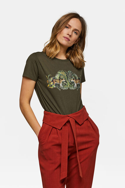 Dames jungleprint T-shirt Legergroen