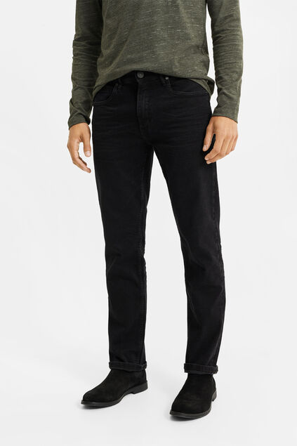 Heren regular fit jeans met super stretch Zwart