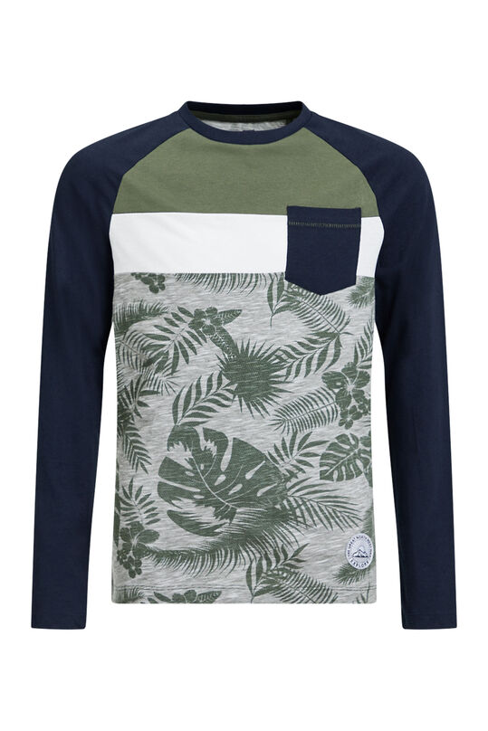 Jongens T-shirt met colourblock Legergroen