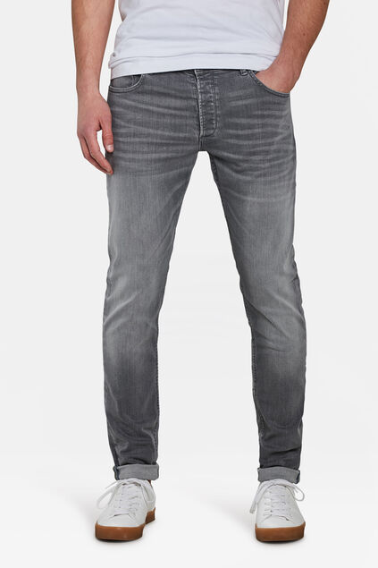 Heren skinny fit tapered super stretch jeans Lichtgrijs