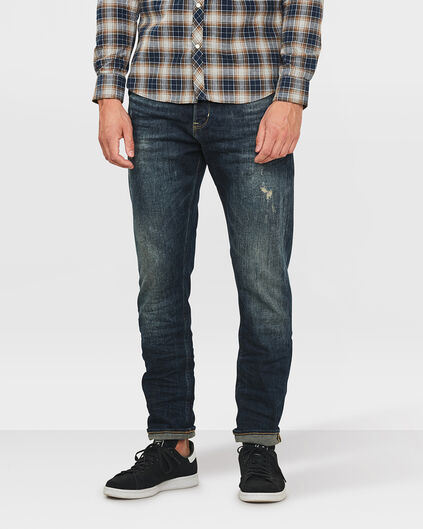 HEREN LOOSE TAPERED COMFORT STRETCH REPAIR JEANS Donkerblauw